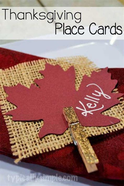 24 Simple DIY Ideas for Thanksgiving Place Cards - Amazing