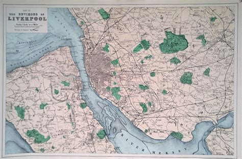 Antique Map of Liverpool and Environs dated 1884 - coloured